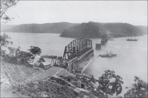 Hawkesbury River Railway Bridge - First bridge under construction in 1888