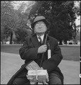 Hayward, California. Grandfather of Japanese ancestry waiting at local park for the arrival of evac . . . - NARA - 537511.tif