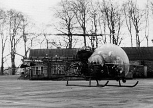 St Lucia Barracks, Omagh - A helicopter landing at the base in the 1960s