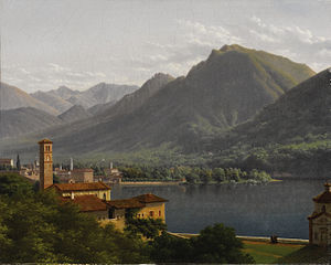 Music for a Scene from Shelley - Lake Lugano, painted by Henri Rolland Lancelot, Marquis de Turpin Crissé