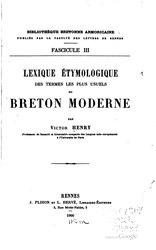 Victor Henry: Lexique étymologique du breton moderne