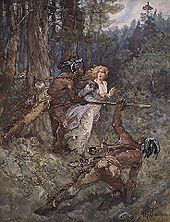 Painting of Laura Secord led by Mohawk warriors through the woods