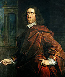 A painting of a man with a virile face and long dark hair; he is wearing a dark red robe-like outfit, and his demeanour conveys elegance and importance.