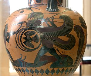Chalcidian helmet - Chalcidian pottery depicting Heracles fighting the monster Geryon, each of whose three heads is wearing a Chalcidian helmet.