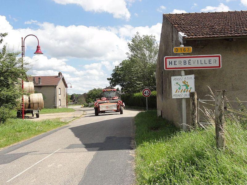 Herbéviller (M-et-M) city limit sign