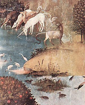 Unicorn horn - Left panel of The Garden of Earthly Delights by Hieronymus Bosch (1503-1504), showing unicorns purifying water.