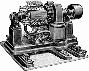 Commutator (electric) - Low voltage dynamo from late 1800s for electroplating.  The resistance of the commutator contacts causes inefficiency in low voltage, high current machines like this, requiring a huge elaborate commutator.  This machine generated 7 volts at 310 amps.
