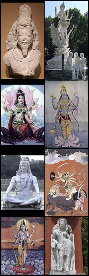 Hindu deities - Examples of Hindu deities (from top): Brahma, Saraswati, Lakshmi, Vishnu, Shiva, Durga, Harihara and Ardhanarishvara.