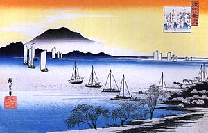 Ōmi Province - Ukiyo-e print by Hiroshige of the sailboats at Yahashi, one of the Eight Views of Ōmi, c. 1834
