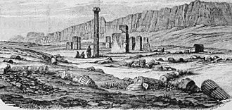 Istakhr - A drawing from the ruins of Istakhr in the 19th century