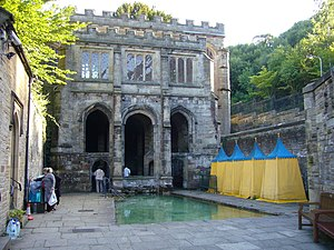 St Winefride's Well - St Winefride's Well. Bathing pool and changing tents.