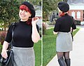 Houndstooth Mini Skirt with a Black Beret, Bright Red Hair, and Fitted Turtleneck Shirt (23062107971).jpg