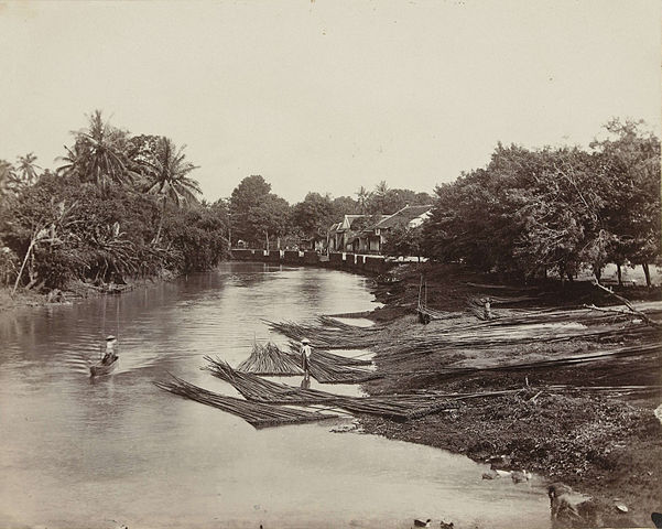Log transport in the Dutch East Indes (now Indonesia) c. 1870.