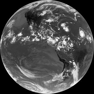 Intertropical Convergence Zone - Infrared image from GOES 14 showing the Intertropical Convergence Zone. Hurricane Bill (2009) is at far right.