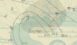1909 Velasco hurricane - Image: Hurricane Four 21 Jul 1909 Weather Map