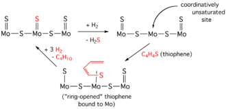 Hydrodesulfurization - Simplified diagram of a HDS cycle for thiophene