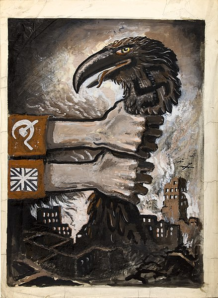 https://upload.wikimedia.org/wikipedia/commons/thumb/7/70/INF3-299_Unity_of_Strength_Hands_grasping_neck_of_predatory_bird_arising_from_the_ruins_of_bombed_town.jpg/439px-INF3-299_Unity_of_Strength_Hands_grasping_neck_of_predatory_bird_arising_from_the_ruins_of_bombed_town.jpg