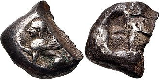 Ionian Revolt - Coin of Chios just before the revolt, circa 525-510 BC..