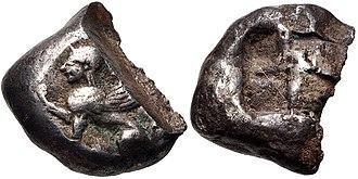 Ionian Revolt - Coin of Chios just before the revolt, circa 525-510 BC..