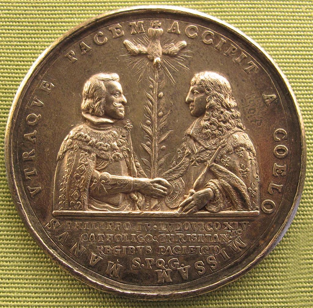 Ignoto (forse jean hardy), luigi XIV e filippo IV di spagna, pace dei pirenei, 1660.JPG