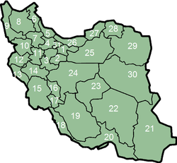 As provincias d'Irán.