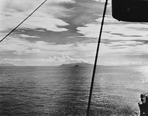 Ironbottom Sound - Ironbottom Sound photographed on 7 August 1942 the day Allied forces landed on Guadalcanal and Tulagi.  In the center is Savo Island with Guadalcanal at far left.