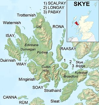 A map of Skye and the surrounding islands