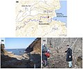 Iwate - Miyako - Taro-Mukaishinden -a- Tsunami height -b- View of damage -c- The survey point where the tsunami runup height of 37,8 m was measured.jpg