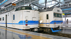 419 series - 419 series trains at Fukui station, showing the differing cab end designs, April 2008