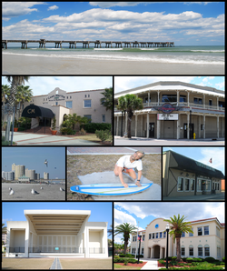 Images from top, left to right: Jacksonville Beach Pier, Casa Marina Hotel, Freebird Live, condos, statue in front of the City Hall, Lynch's Irish Pub, Sea Walk Pavilion, Jacksonville Beach City Hall
