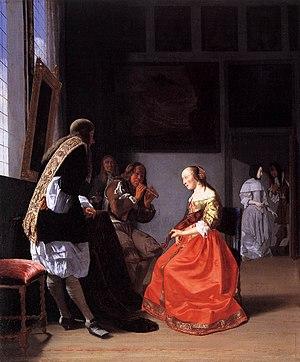 Merry company - Jacob Ochtervelt, Musical Company in an Interior, c. 1670