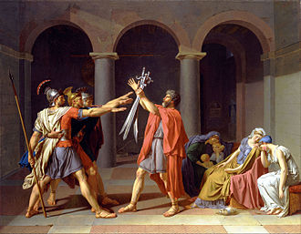 History painting - Jacques-Louis David's Oath of the Horatii, 1786, with a scene from ancient history.
