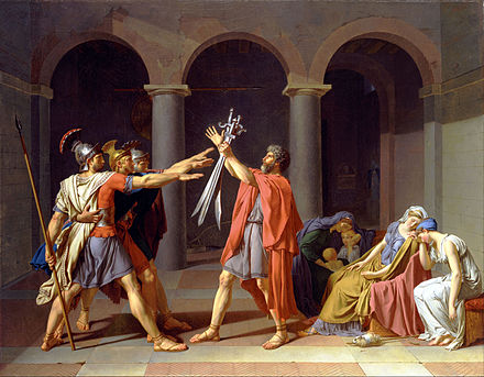 Jacques-Louis David's paintings, Oath of the Horatii is considered a likely source for elements of Goya's The Third of May 1808. Jacques-Louis David - Oath of the Horatii - Google Art Project.jpg