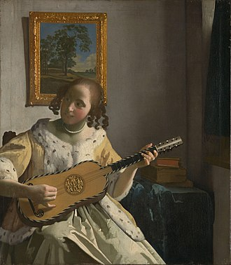 Classical guitar - The Guitar Player (c. 1672), by Johannes Vermeer, guitar Voboam