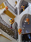Jelky András School. Staircase, Papier-mâché birds and balloons. - Rákóczi Square, Budapest.JPG