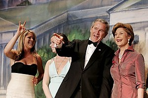 First Family of the United States - Image: Jenna, Barbara, George W, Laura Bush Jan 19, 2005