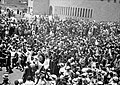 Jewish protest demonstrations against Palestine White Paper, May 18, 1939. Orthodox Jews leaving the Yeshuru Synagogue carrying the Holy Scrolls of the Law.jpg