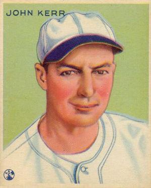 John Kerr (baseball) - 1933 Goudey baseball card.