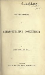John Stuart Mill: Considerations on Representative Government.