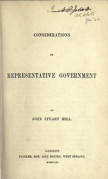 John Stuart Mill, Considerations on Representative Government (1st ed, 1861, title page).jpg