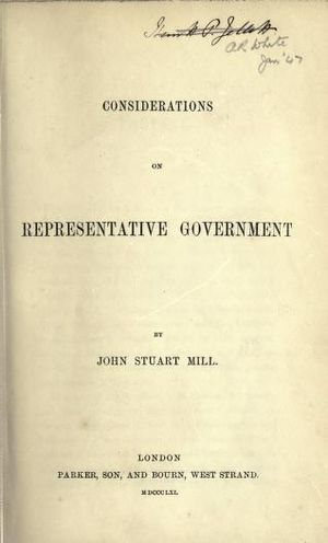Considerations on Representative Government - Title page of the first edition