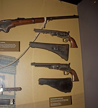 The guns in Booth's possession when he was captured, Ford's Theatre National Historic Site (2011) John Wilkes Booth guns on display at Ford's Theatre, Washington, D.C.jpg