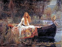 PreRaphaelite oil painting of the Lady of Shallott, finely dressed, on a small boat in a river
