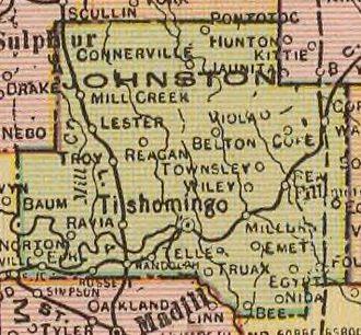 Johnston County, Oklahoma - Map of Johnston County, 1909