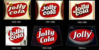 Jolly Cola - Jolly labels through time.