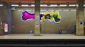 "Joséphine-Charlotte metro station platform, facing ""Les oiseaux émerveillés"" by Serge Vandercam in (Woluwe-Saint-Lambert, Belgium).png"