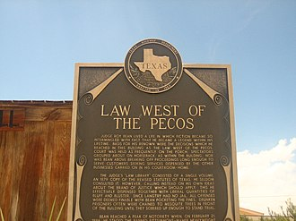 Langtry, Texas - Image: Judge Bean historical marker IMG 0305