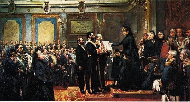 Archivo:Jura de la regente María Cristina de Habsburgo (Francisco Jover, Joaquín Sorolla).jpg