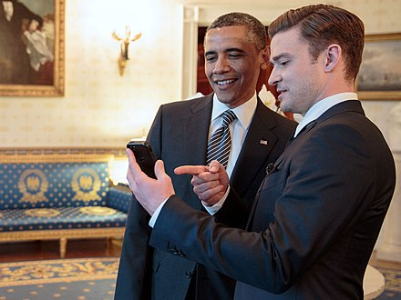 Timberlake and President Obama, 2013 Justin Timberlake and Barack Obama at The White House - 2.jpg