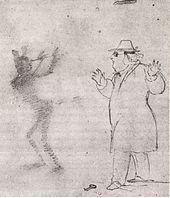 Kerner, beim Maultrommelspielen von einer Erscheinung überrascht (Bleistiftzeichnung Kerners) (Quelle: Wikimedia)